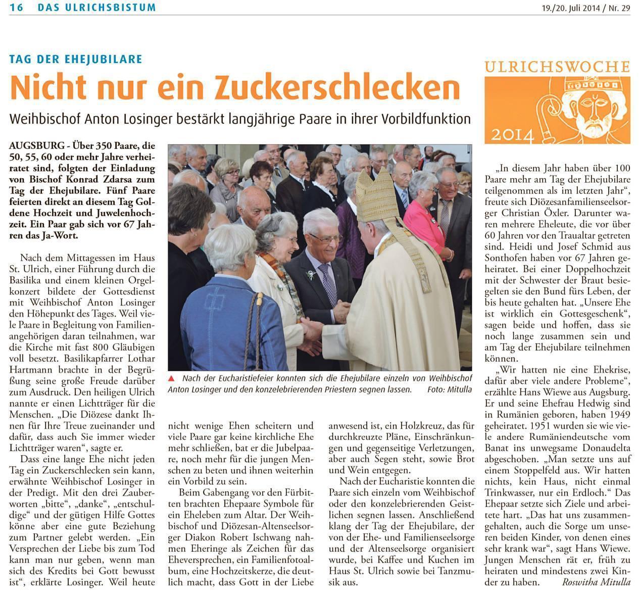 Artikel aus der Kath. Sonntagszeitung